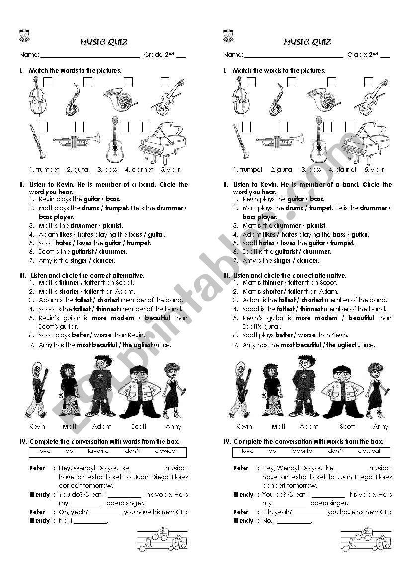 music vocabulary worksheet