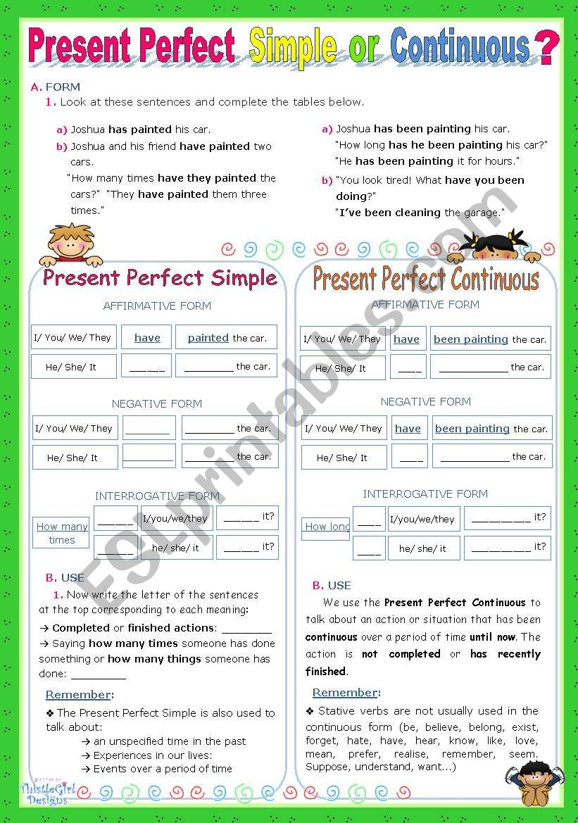 Present Perfect   Simple  or   Continuous?   - An Inductive Approach