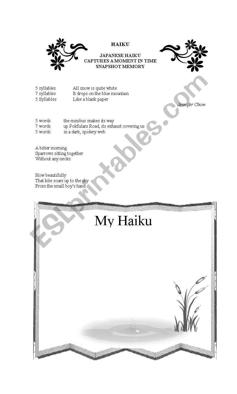 English Worksheets Haiku