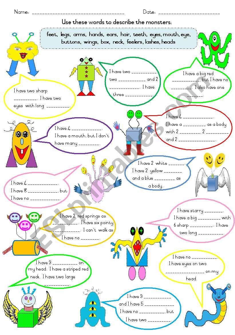 Describing Friendly Monsters worksheet