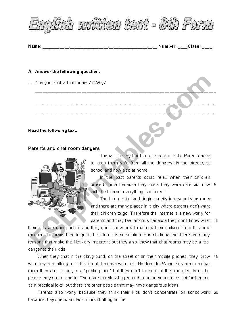 Test on Chat rooms worksheet
