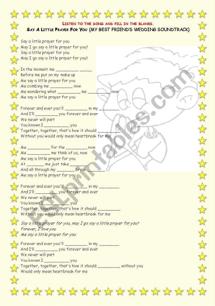 Song activity - Say a little prayer (My best friend´s wedding Sountrack)