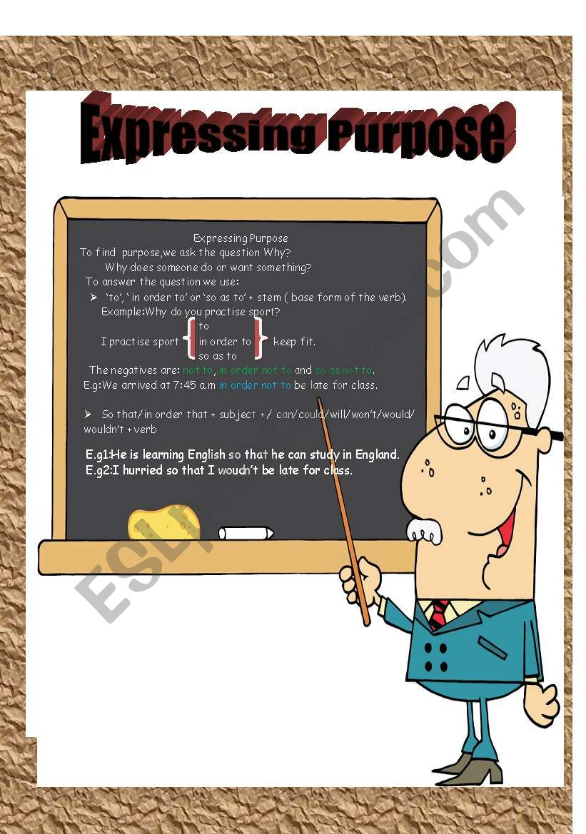Expressing Purpose with  to,in order to ,so as to & so that
