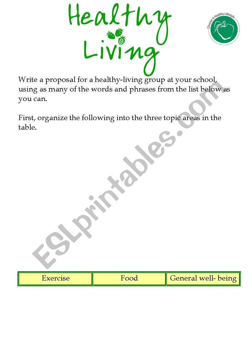 Healthy Living worksheet