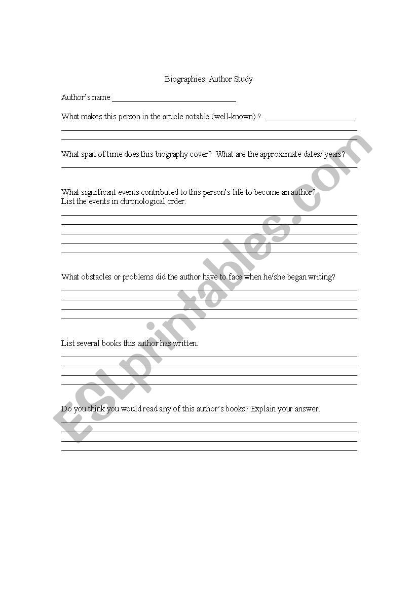 English Worksheets Biograaphies Author Study