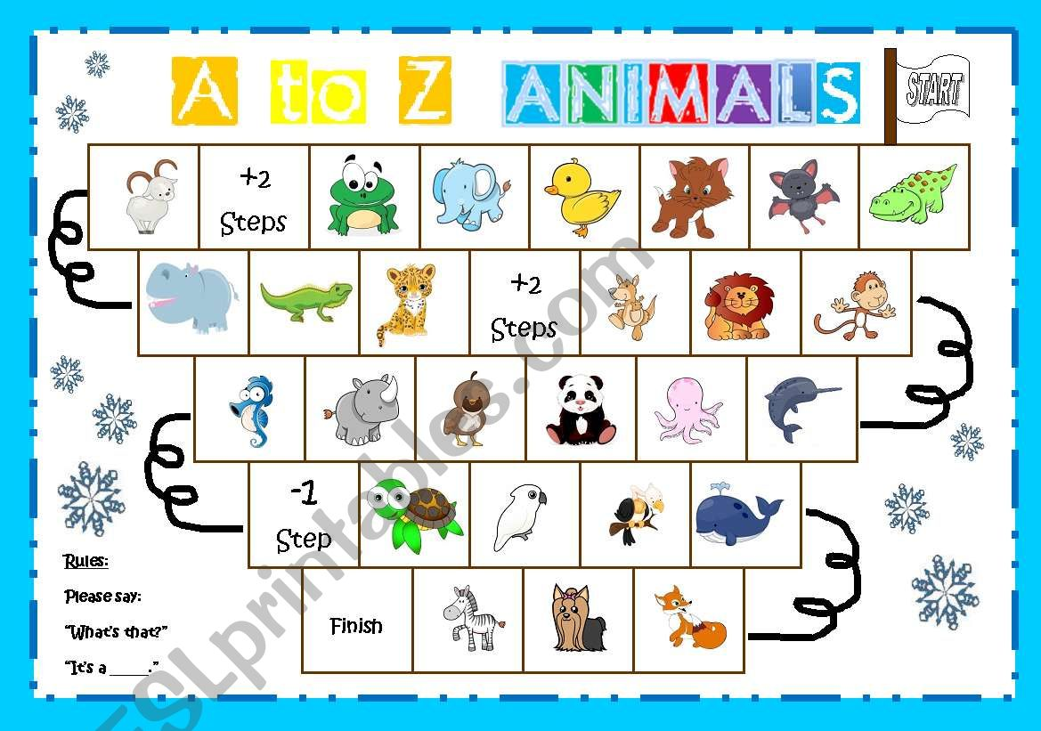 A to Z animal board game worksheet