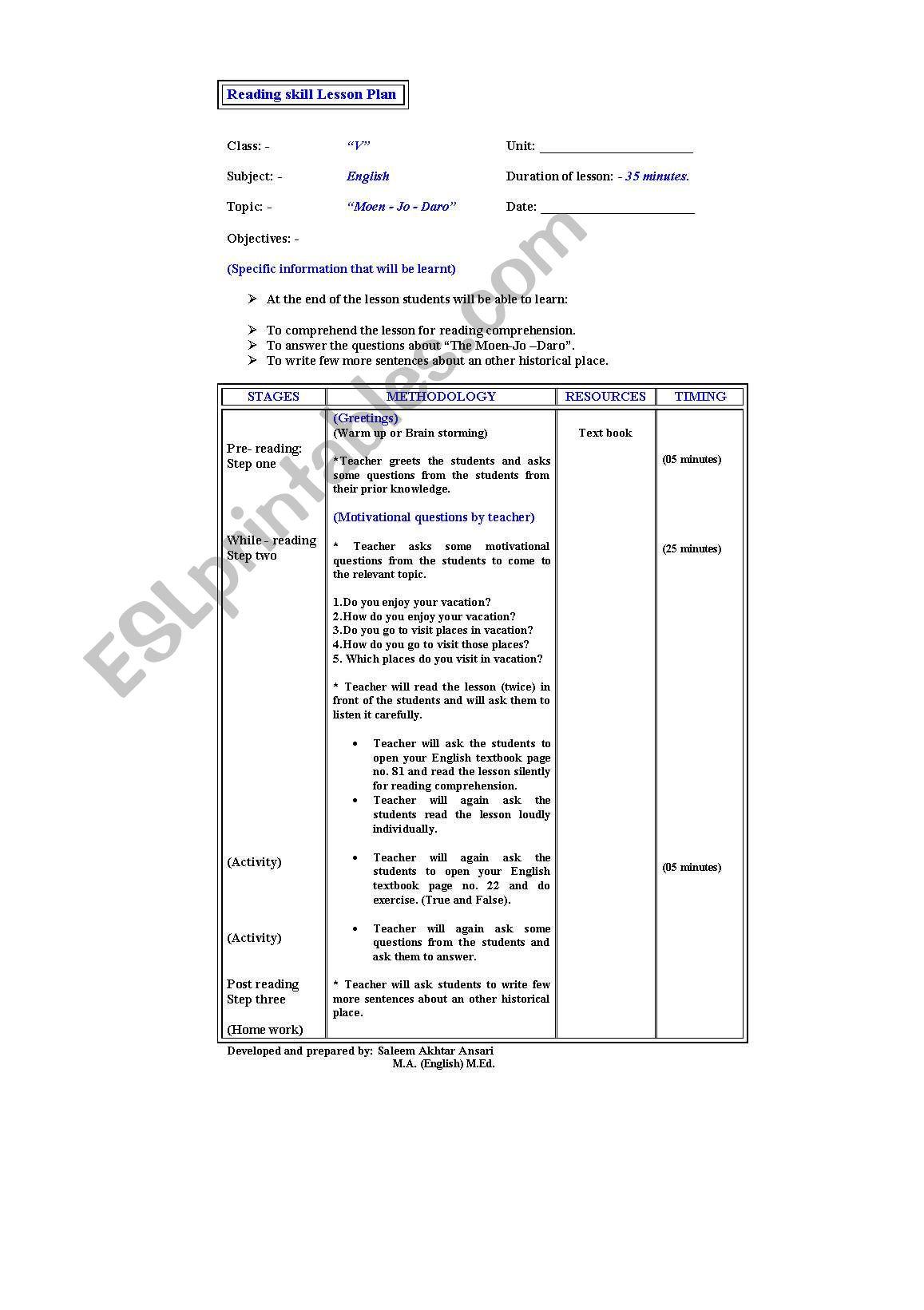 Lesson Plan for reading skill - ESL worksheet by sagar73