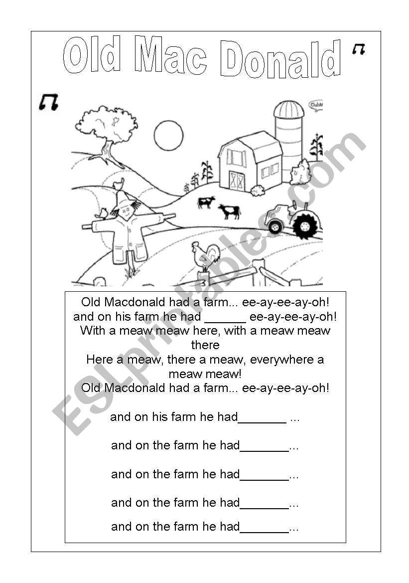 OLD MAC DONALD LYRICS worksheet