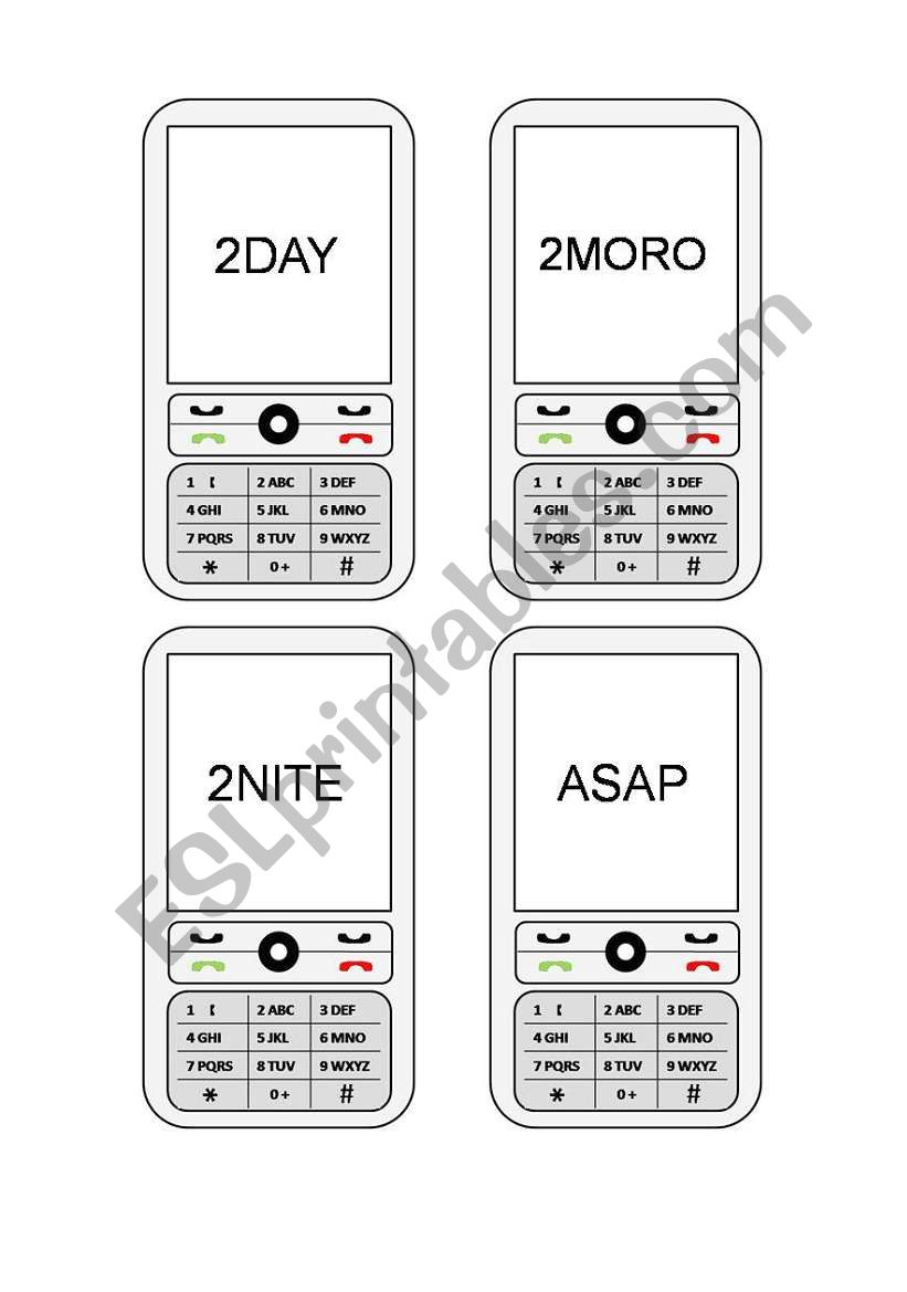 Cell Phone Texts (1/2) worksheet