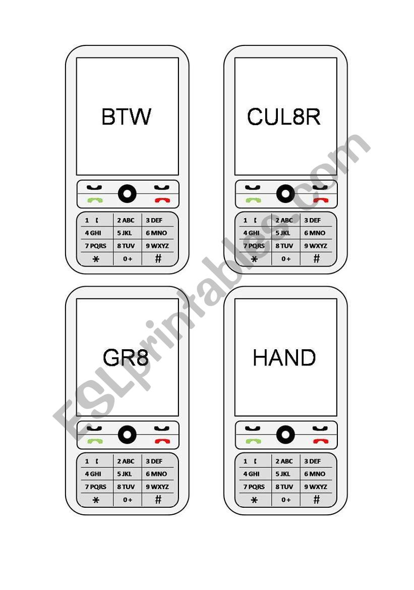 Cell Phone Text (2/2) worksheet