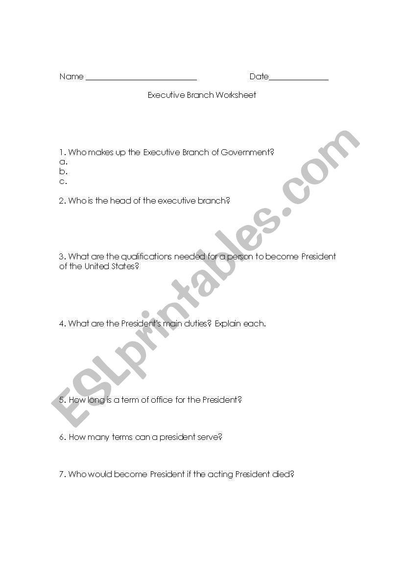 English Worksheets Executive Branch Worksheet