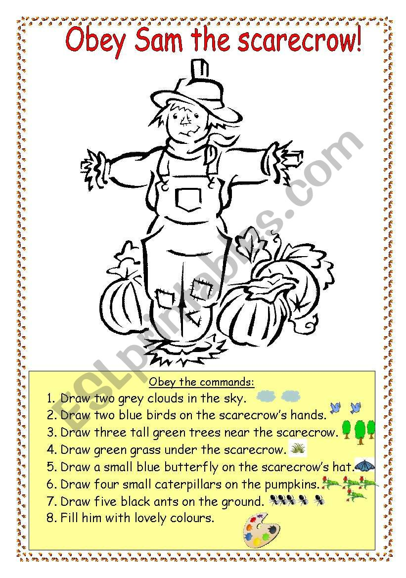 Obey Sam the scarecrow! worksheet