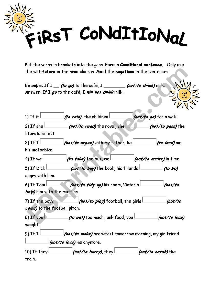 first conditional exercises worksheet