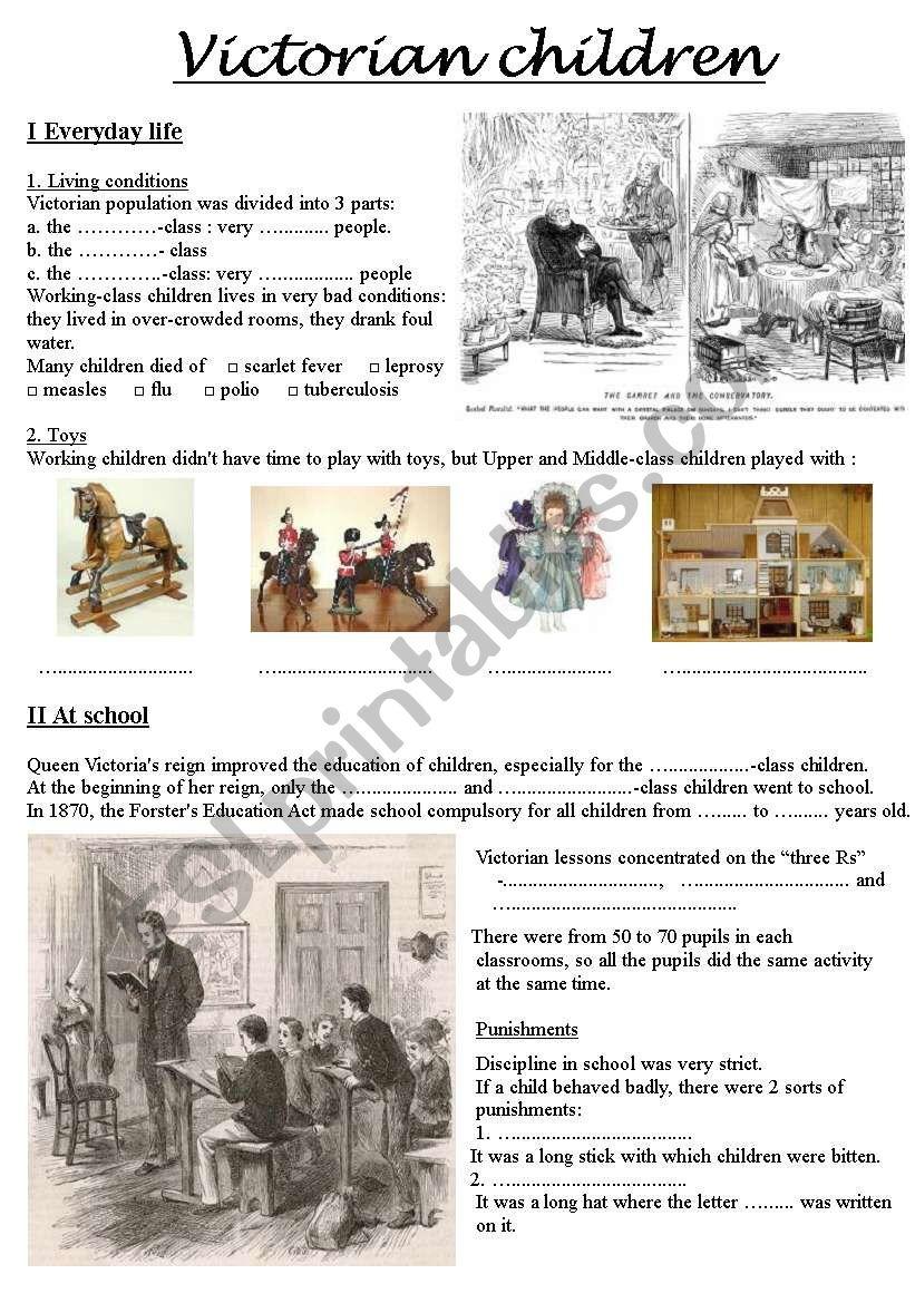 Victorian children worksheet