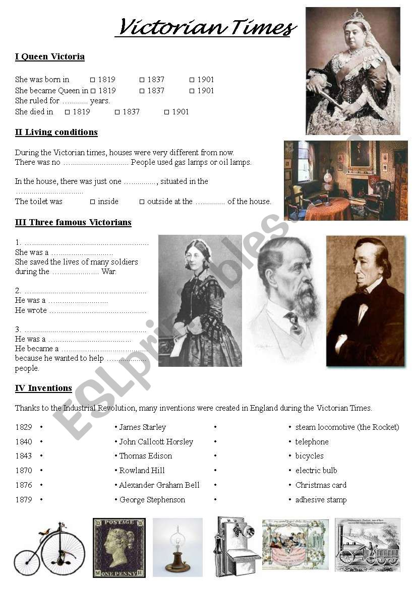 Victorian times worksheet