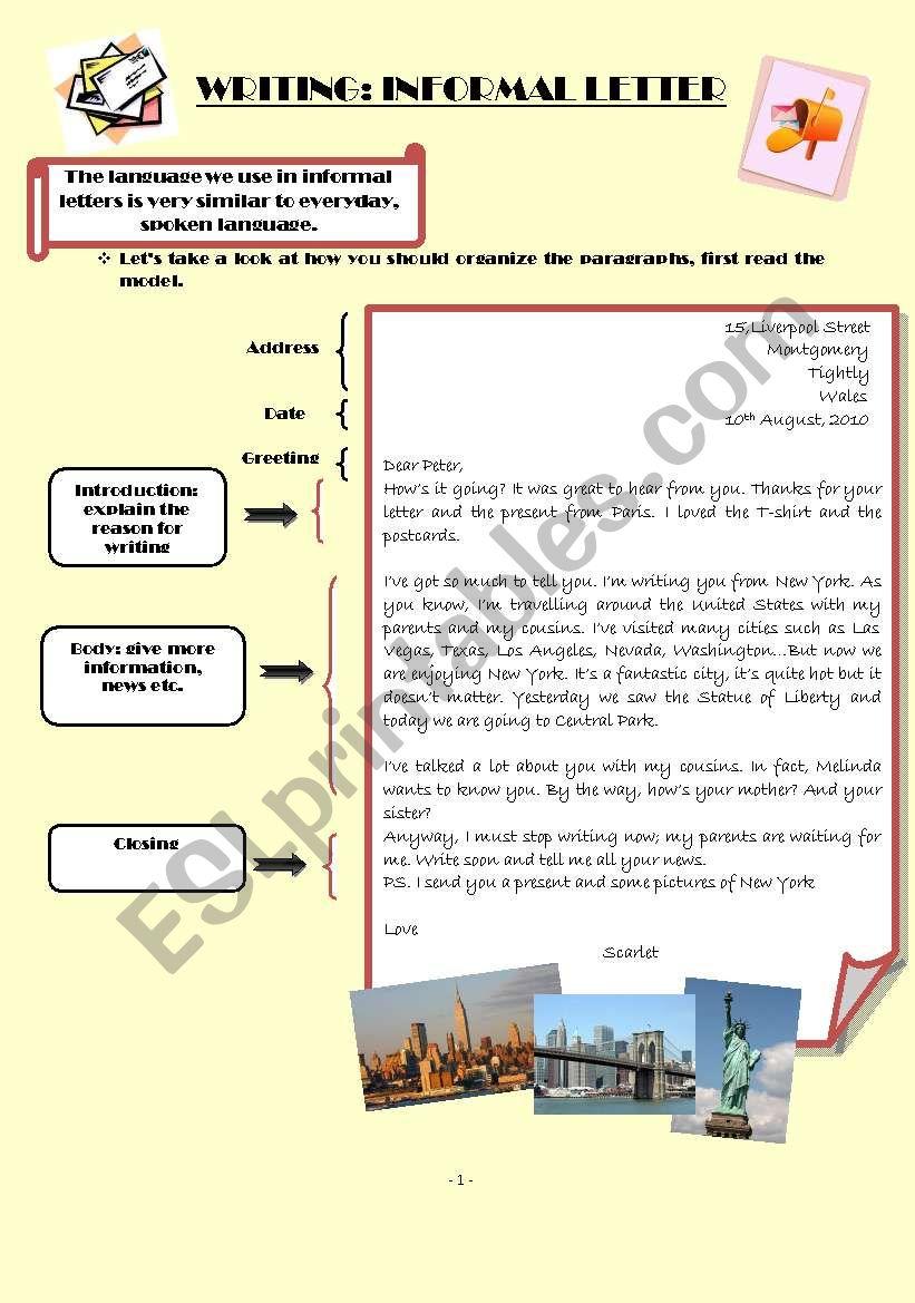 Informal letters worksheet