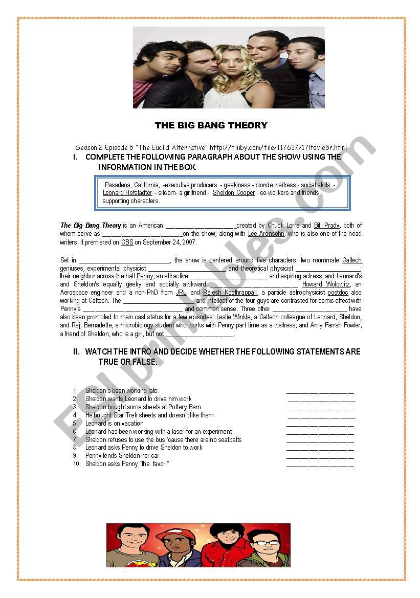 THE BIG BANG THEORY worksheet
