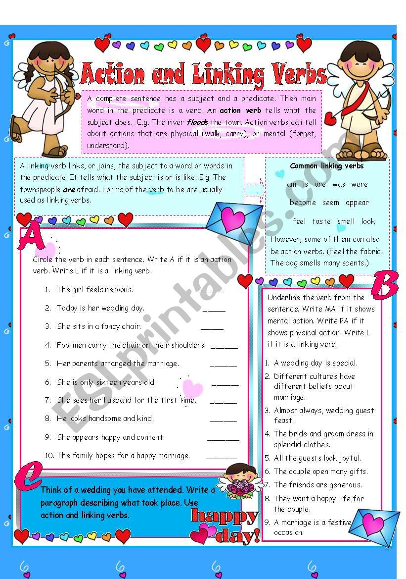 Action Linking Verbs Editable Answer Key Included Esl Worksheet By Tech Teacher [ 1169 x 821 Pixel ]