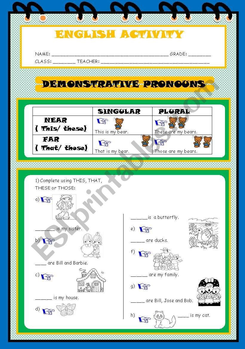 DEMONSTRATIVES  PRONOUNS worksheet