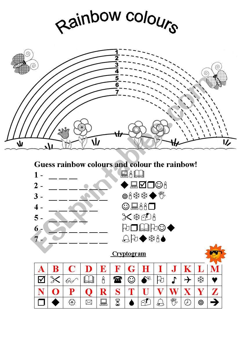 Rainbow colours cryptogram worksheet