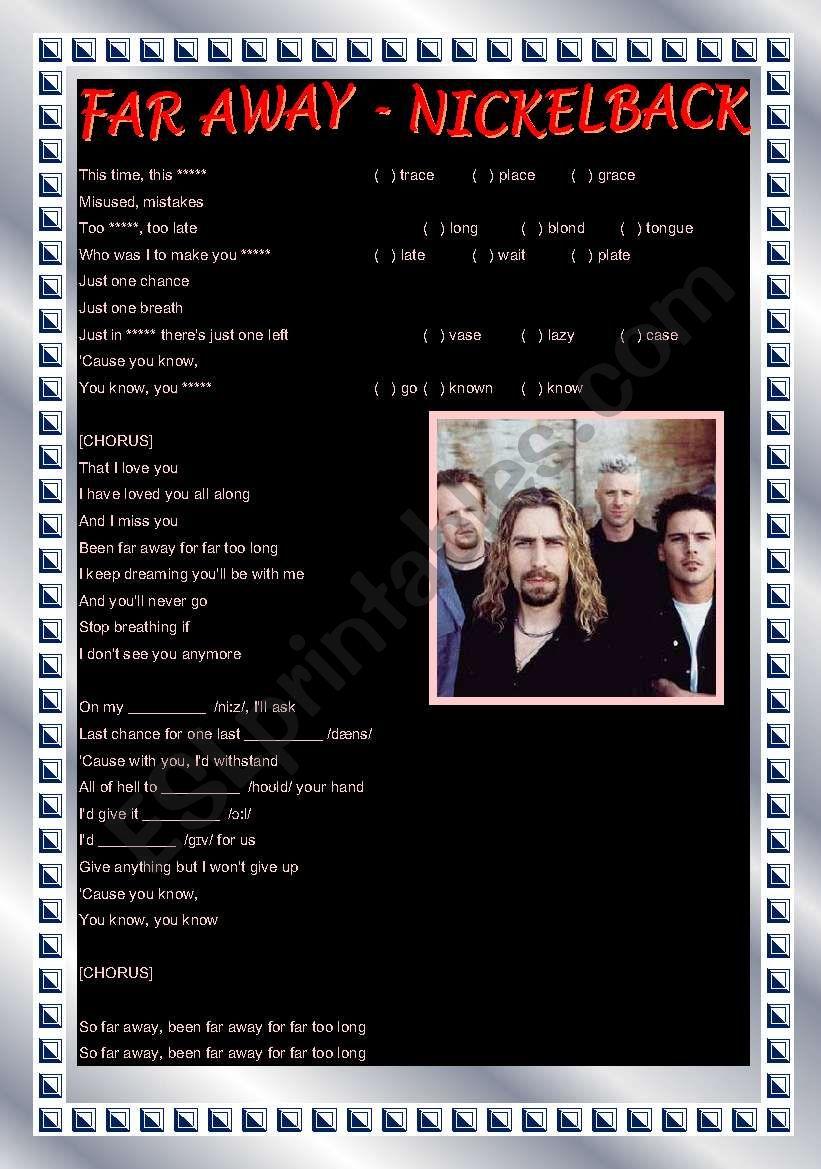 Song activity - Far Away - Nickelback