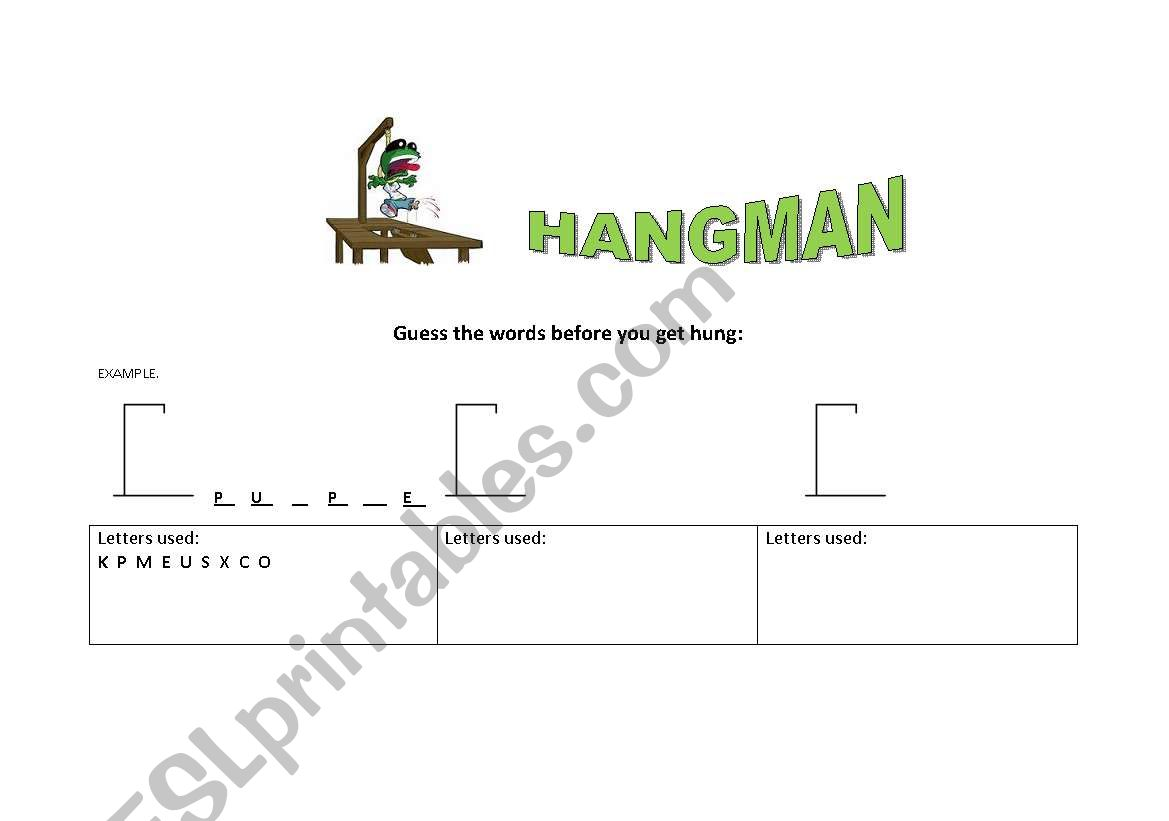 stop and hangman games 2 pages esl worksheet by milenajonesesl