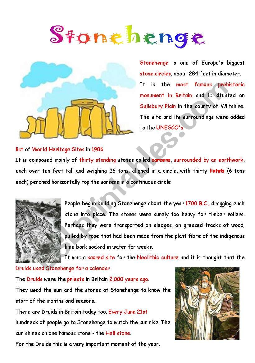 Stonehenge worksheet