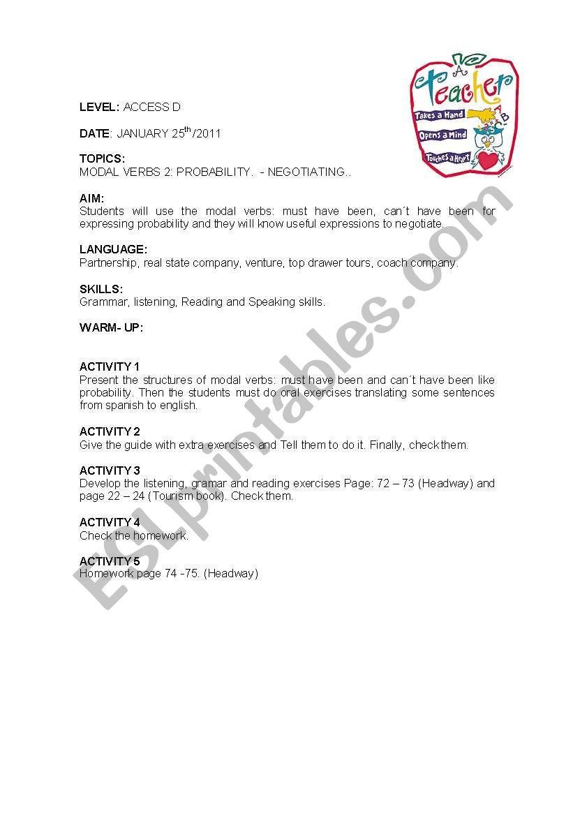 LESSON PLAN 5 worksheet
