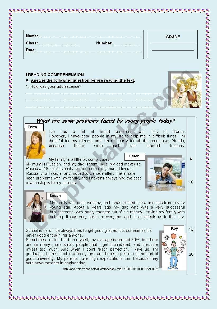 teen problems worksheet