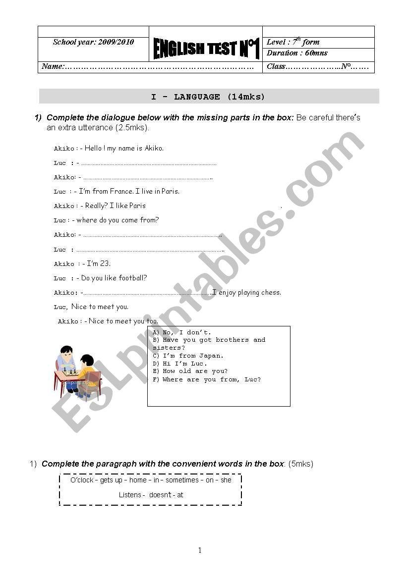 A test for elementary pupils - ESL worksheet by bochra