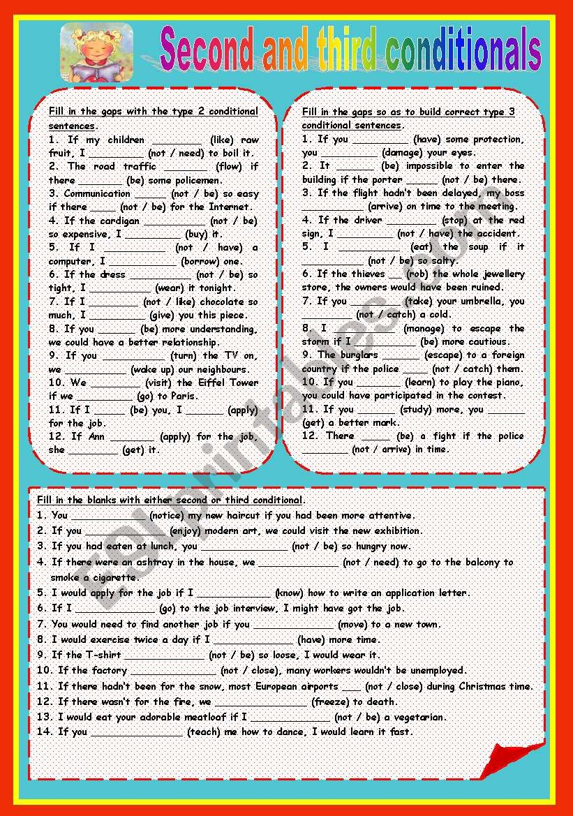 Second and third conditionals worksheet