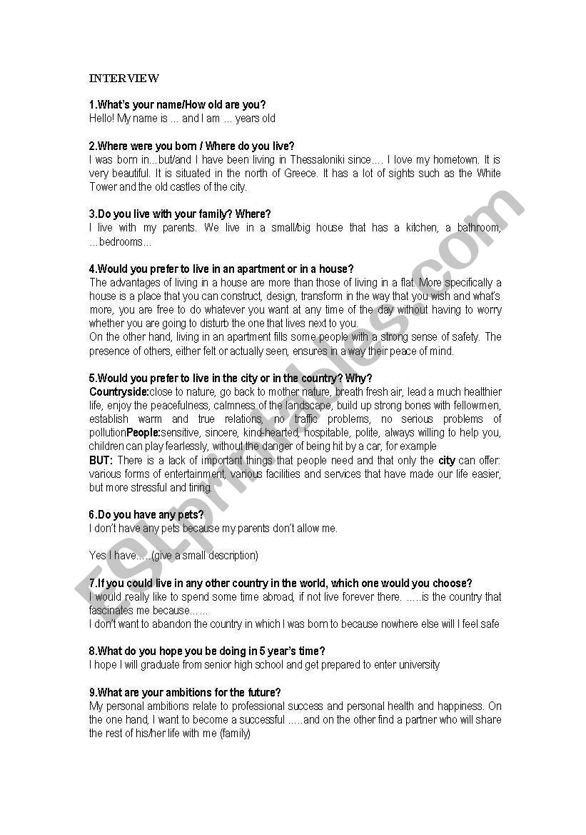 Tips for oral exams worksheet