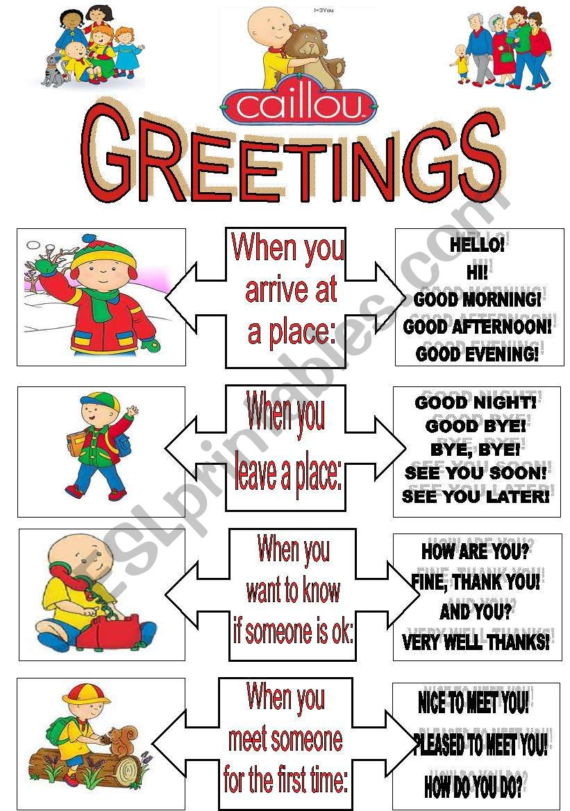 CALLIOU HELLO SONG.FULLY EDITABLE.(3 pages) LIST OF GREETINGS+EXERCISES+SONG