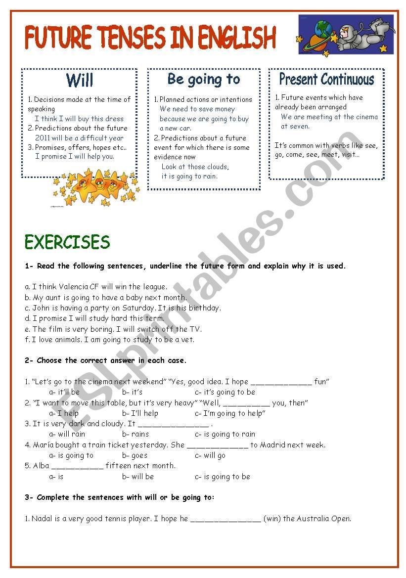 FUTURE TENSES IN ENGLISH - ESL worksheet by neusferris