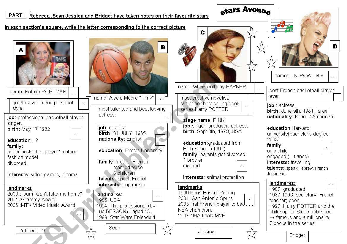 4 BIOGRAPHIES.  2 activities reading comprehension/ wrting skill