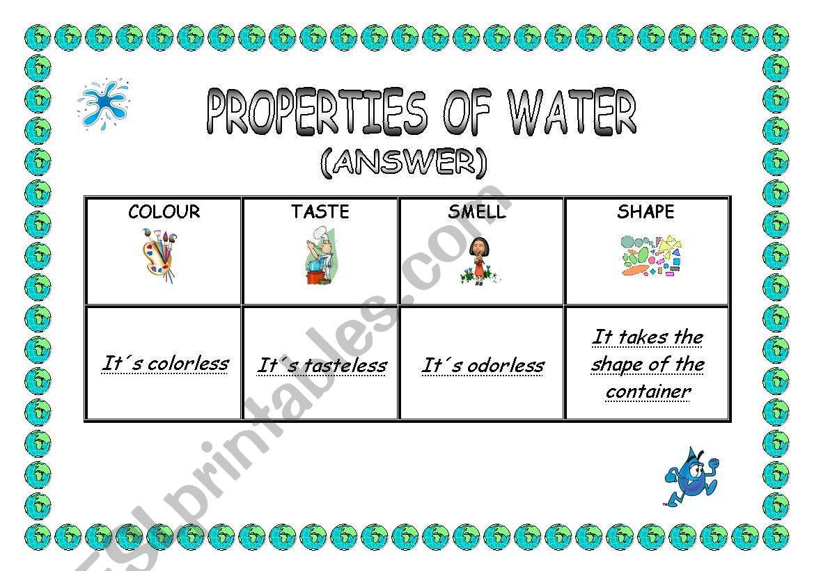English Worksheets Properties Of Water