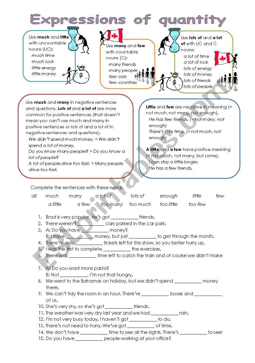 Expressions of quantity - explanation, exercise and key