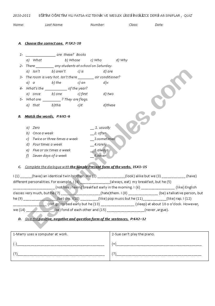 simple present tense quiz worksheet