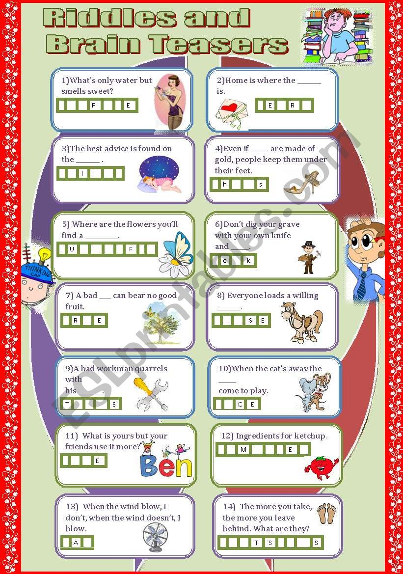 Riddles and Brain teasers worksheet