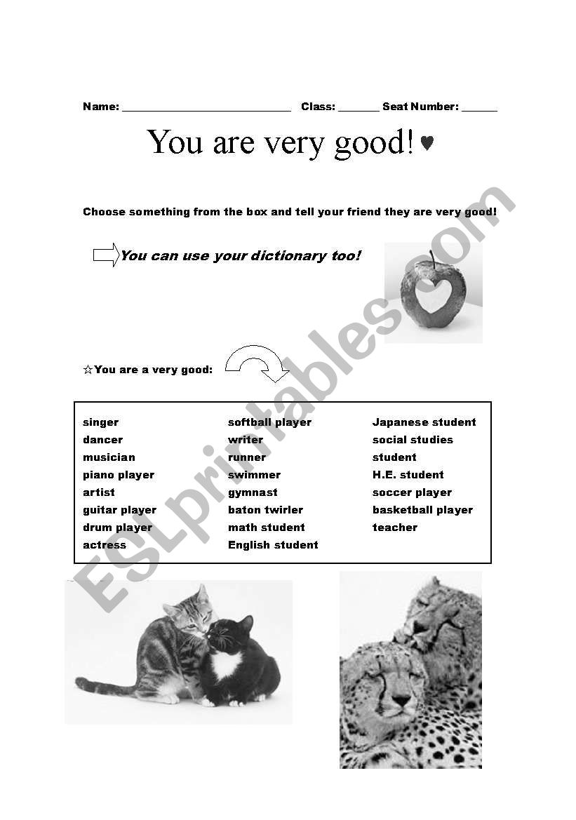 English worksheets: Compliment your friend