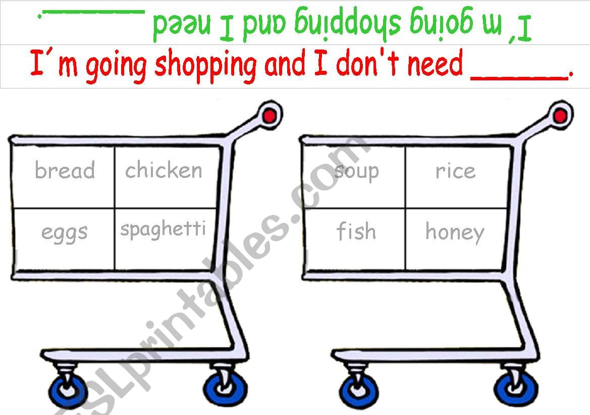 Shopping Game (Food) editbale worksheet