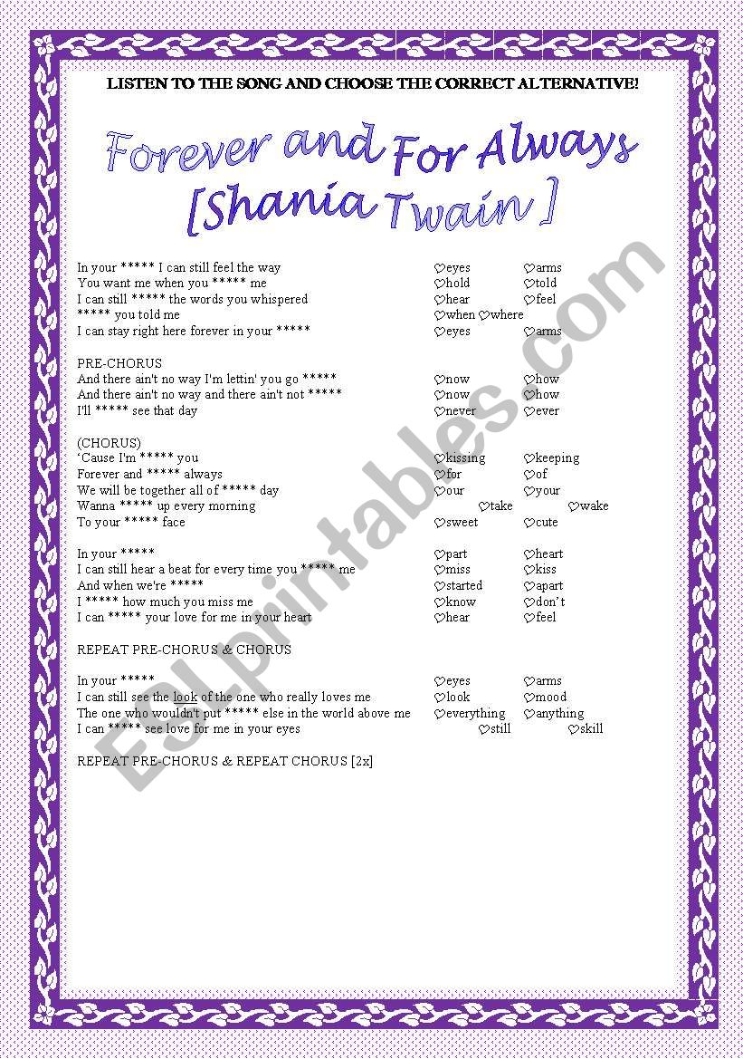Song activity - Shania Twain - Forever and For Always