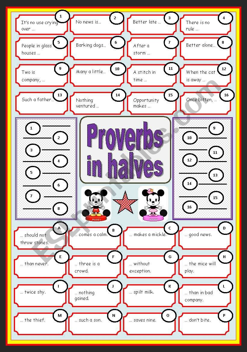 English proverbs in halves (with key) - ESL worksheet by ...