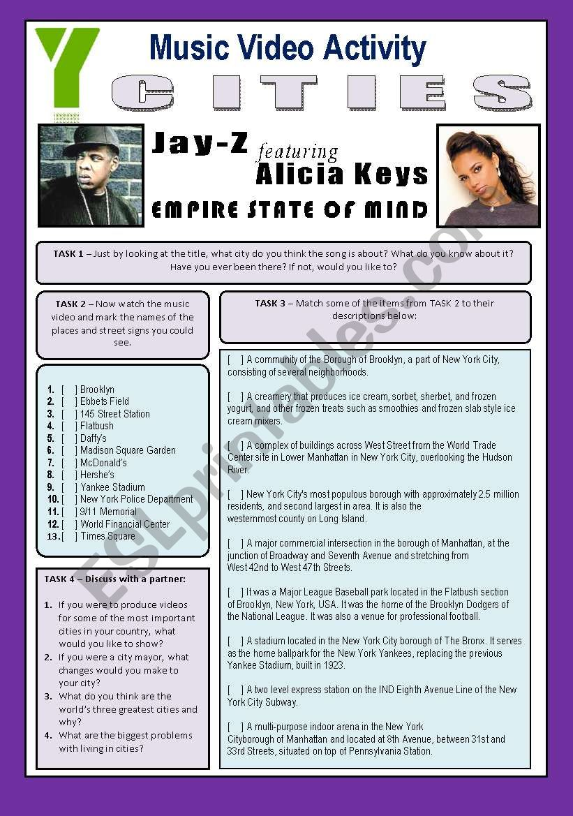 Music Video Activity - Empire State Of Mind (By Jay-Z & Alicia Keys) - CITIES