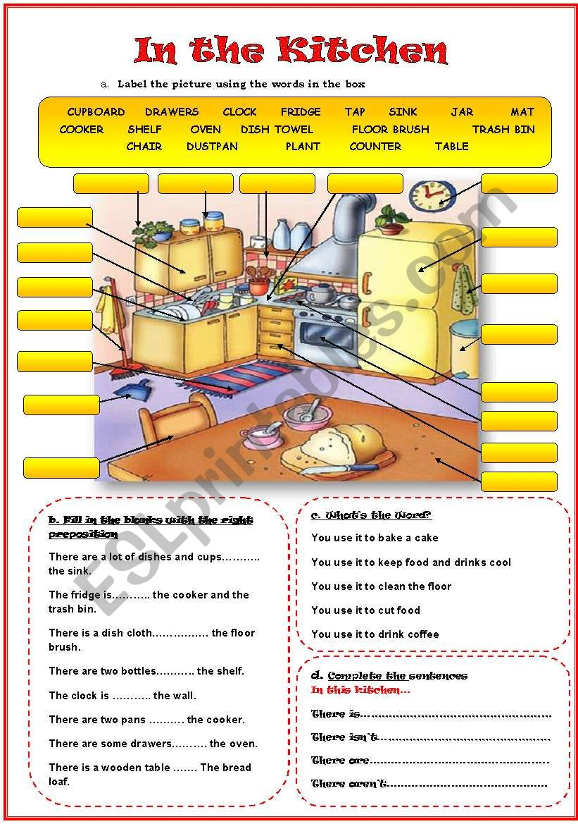 In the Kitchen (Editable) worksheet