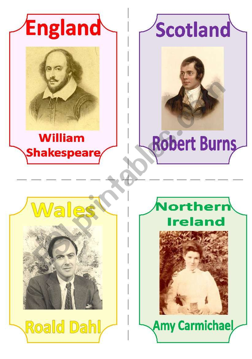 THE UK FLASHCARDS 5 - FAMOUS POETS (WRITERS), 1 page, fully