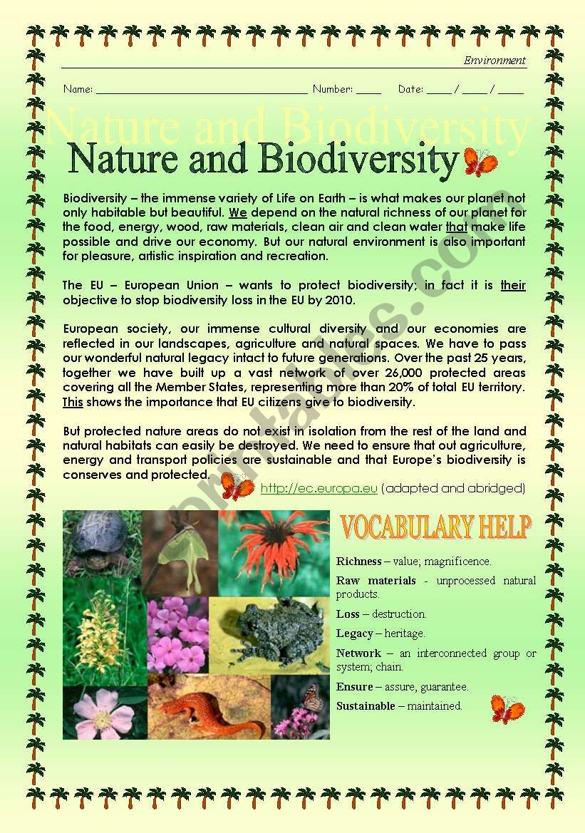 graphic relating to Biodiversity Printable Worksheets called Globe - Mother nature and Biodiversity (Finish-Editable) - ESL