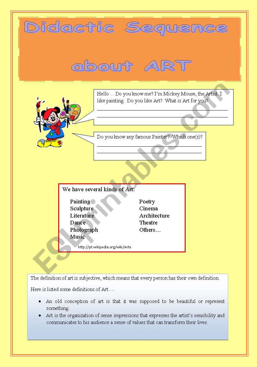 DIDACTIC SEQUENCE ABOUT ART ((10 pages)) - (editable)