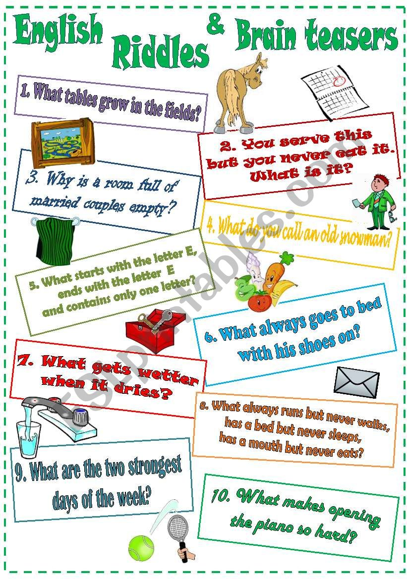 English Riddles and Brain teasers (3) - ESL worksheet by ...
