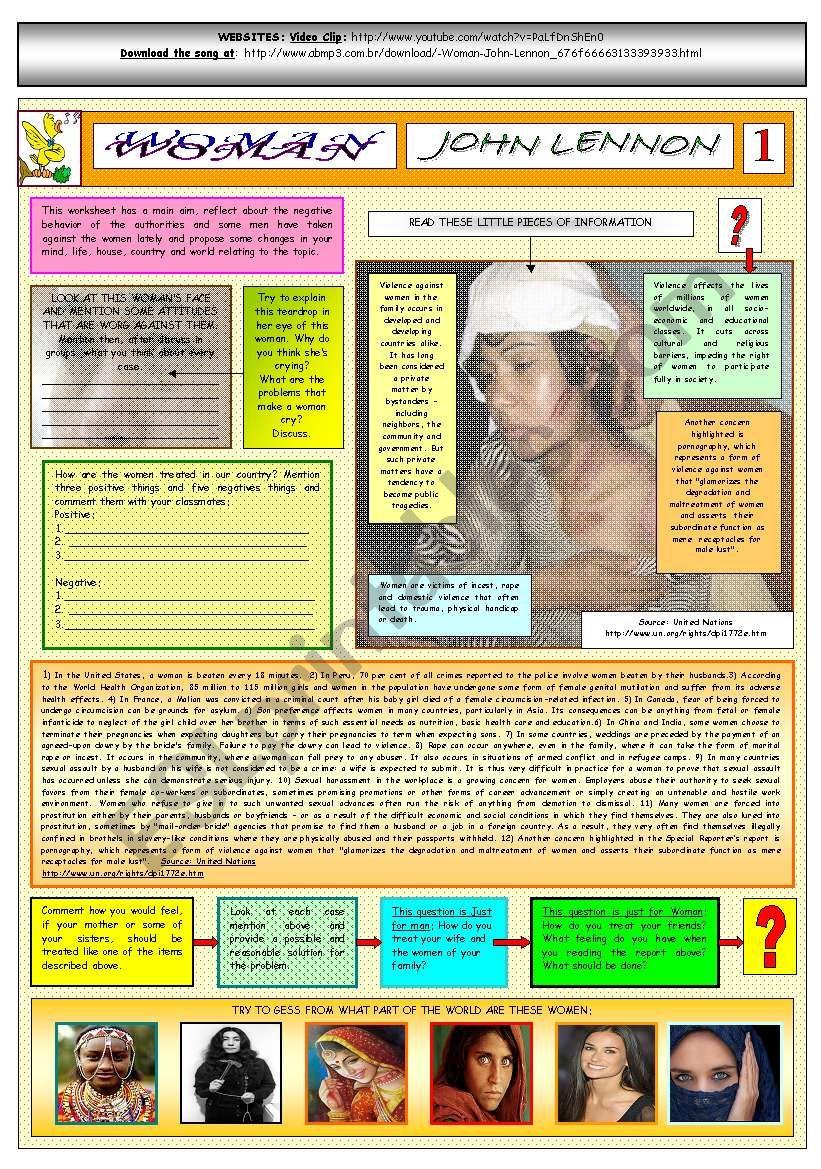 WOMAN - JOHN LENNON - PART 01 - FULLY  EDITABLE AND FULLY CORRECTABLE